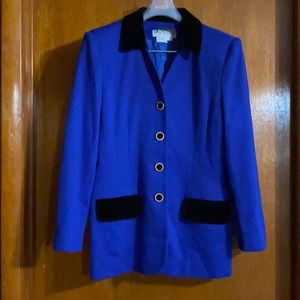 Oleg Cassini Blue and Black Suede Collar & Pockets